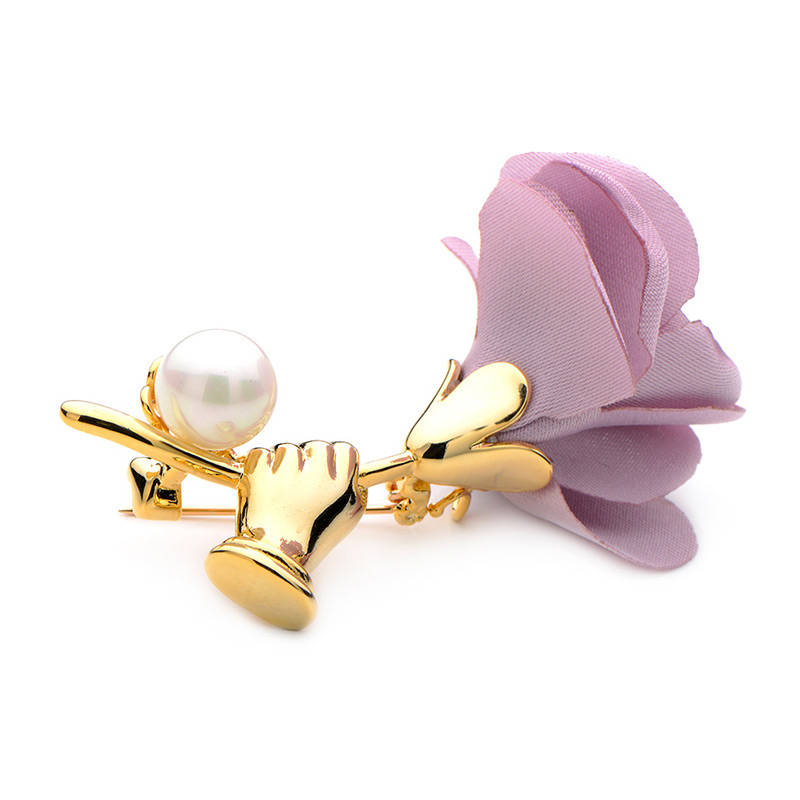 Jewelry Sets & More Brooches Wuli&baby Fabric Pink Grey Flower Brooches For Women Simulated Pearl Plant Weddings Banquet Party Brooch Gifts Traveling