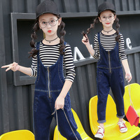 Spring Girls Suit 2020 Kids Clothing Set Teen Girls Clothes Set Casual Costume For Girls Striped T shirt + Denim Jumpsuits 2 Pcs