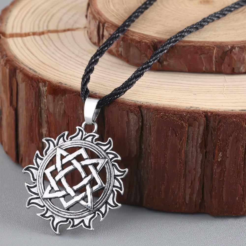 CHENGXUN nastolatek chłopcy naszyjnik w stylu Retro słowiańska biżuteria Svarog kwadratowy wisiorek słowiański talizman Pagan naszyjnik z łańcuchem liny