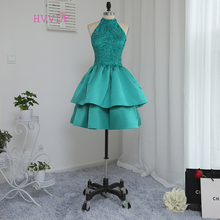 Homecoming-Dresses Lace Green A-Line Tiered Knee-Length High