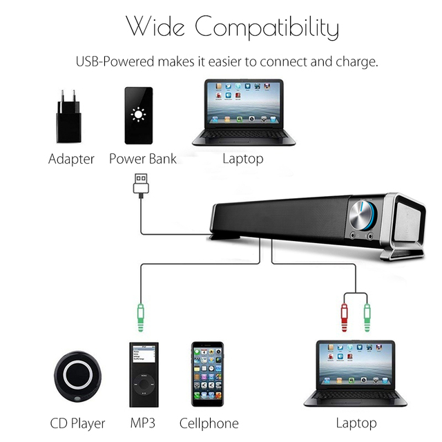Portable Laptop/Computer/PC Speaker USB Mini Laptop Speaker Subwoofer Soundbar for Tablet 5V Sound Bar Stick Music Player Black