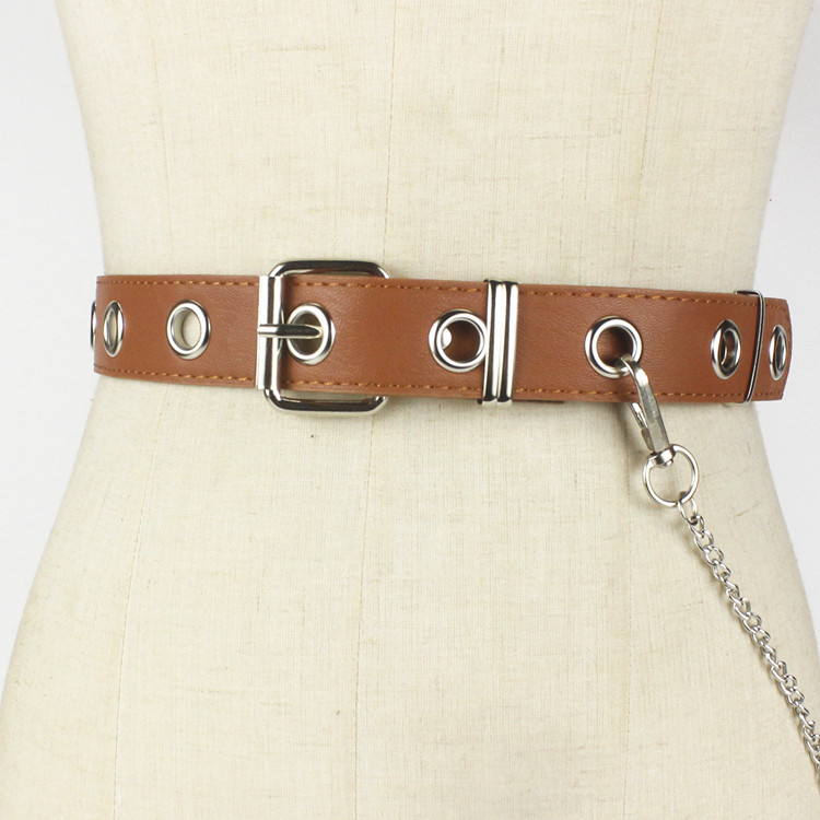 Pu Leather Harness Belts silver pin buckle Metal Waistband brown Women Leisure Jeans Chain Ladies new concave shape belt black in Women 39 s Belts from Apparel Accessories