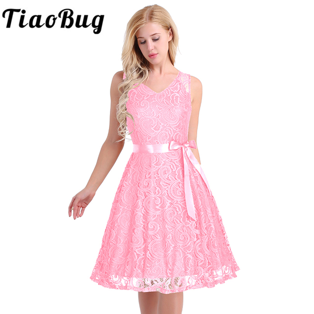 30eecada78 Summer Fashion Women Elegant V Neck Floral Lace Overlay Sleeveless A Line  Dress with Sash Knee-Length for Cocktail Party wear