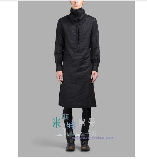 S-5XL! 2017 nouveau vêtements pour hommes col roulé pull long design fluide chemise placketing col montant chemise chanteur costumes
