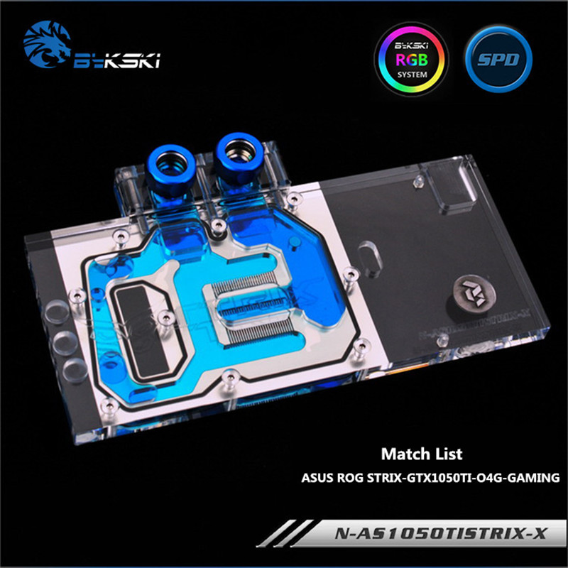 Bykski Full Coverage GPU Water Block For ASUS STRIX-GTX1050TI-O4G-GAMING Graphics Card Water-Cooled head N-AS1050TISTRIX-X computador cooling fan replacement for msi twin frozr ii r7770 hd 7770 n460 n560 gtx graphics video card fans pld08010s12hh