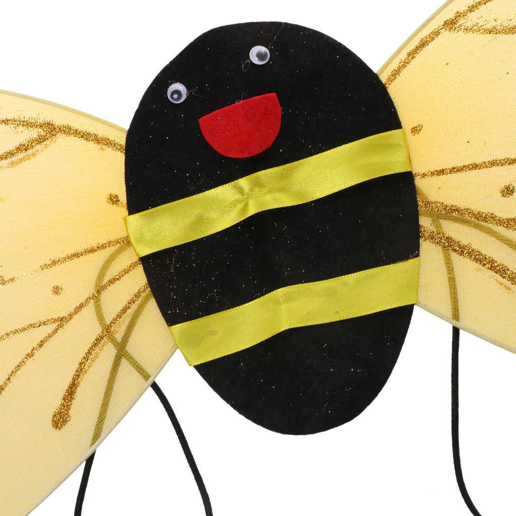 1 ชุด Halloween Bumble Bee Wing Headband ดอกไม้ Wand เด็กเครื่องแต่งกาย Dressing คอสเพลย์สำหรับฮาโลวีน Gathering งานปาร์ตี้