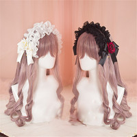 Harajuku Style Gothic Sweet Lolita Three Layer Lace Bow Flowers KC Headband Handmade Lolita Hairpin Headwear Girls Best Gift