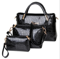 Fashion women bag patent leather high-end fashion handbags crocodile pattern LASH package three-piece portable shoulder bag