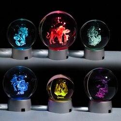 3D Зодиак хрустальный шар 12 созвездий стеклянный шар украшение дома Сфера Красочный Светодиодный светильник Знак зодиака орнамент