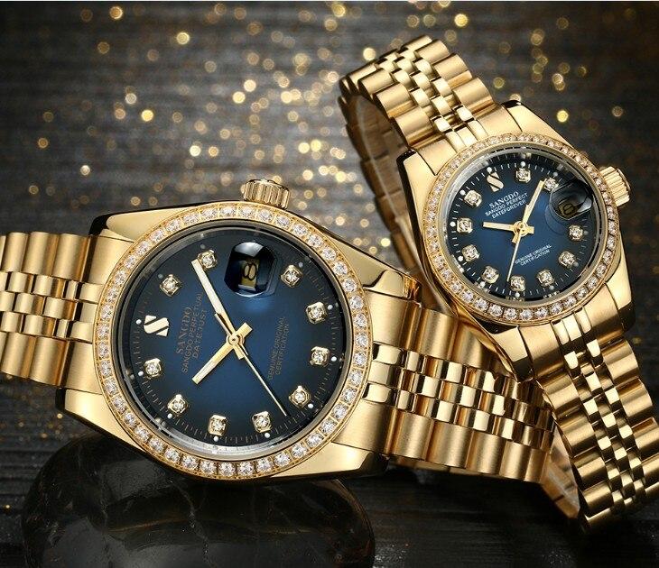 SANGDO синий циферблат Самовзводные движение высокое качество роскошные часы, пары покрытие 18KY механические часы 07 s