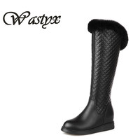 Wastyx 2017 New Knee Boots Fahsion Mid Heels Women Boots Round Toe Snow Boots Winter Warm