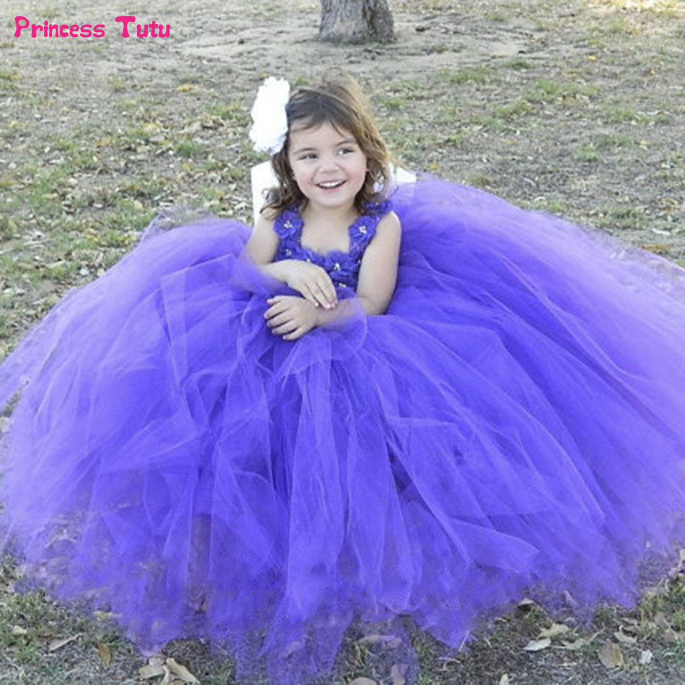 New 2018 tutu purple baby bridesmaid flower girl wedding dress tulle ...