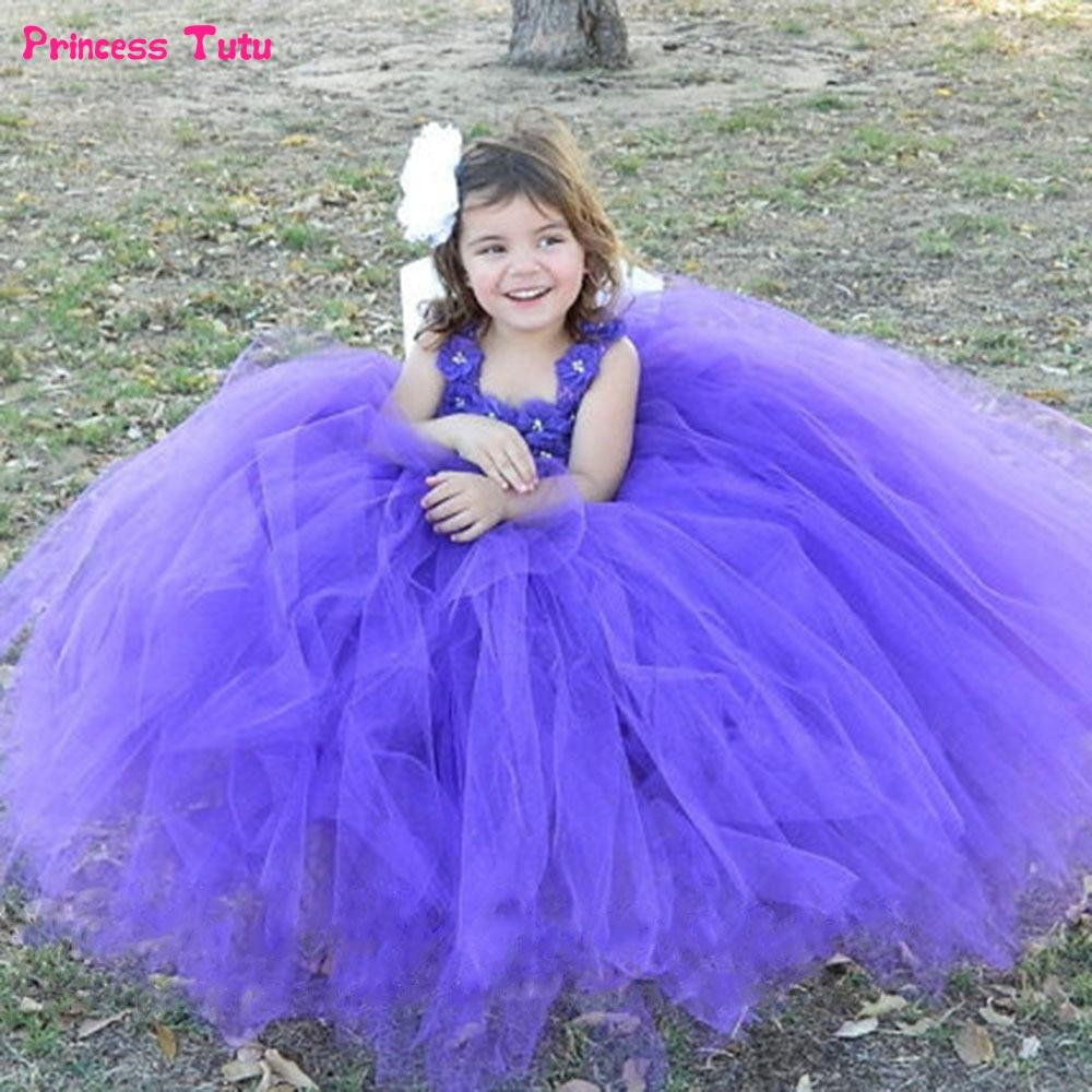 Purple Flower Girl Dress Tulle Girls Wedding Dress Kids Toddler