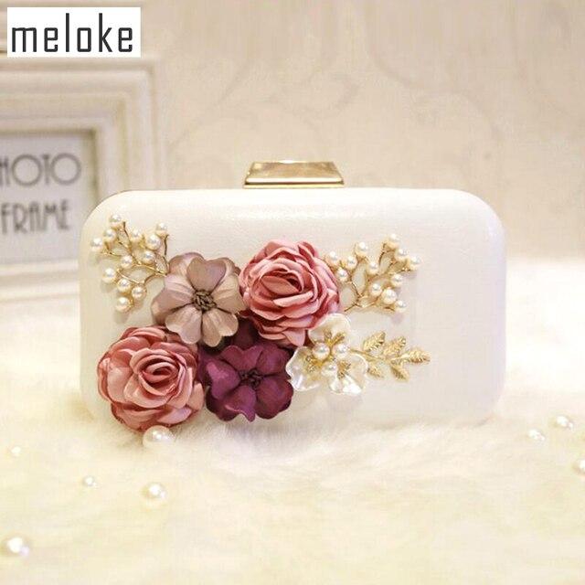 Meloke 2019 high quality handmade flower evening clutch bags fashion Party Clutch  Purse Wallet wedding dinner 96564dbb324d