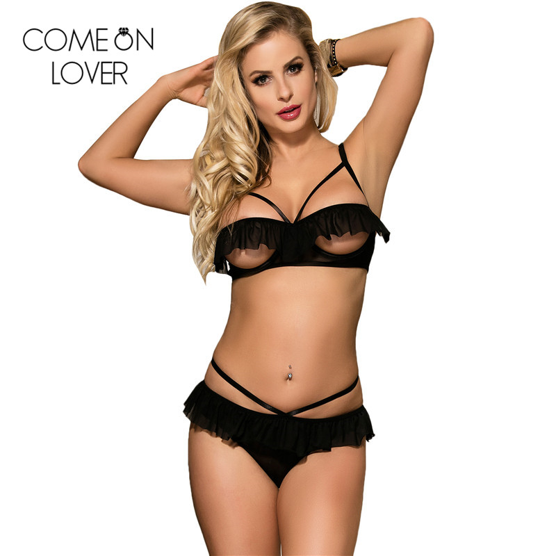 Comenlover Ruffle Women Bra And Panty Set Open Cup Sexy Underwear Women Set Wireless Strap Erotic Bra Sets Bralette RE80405