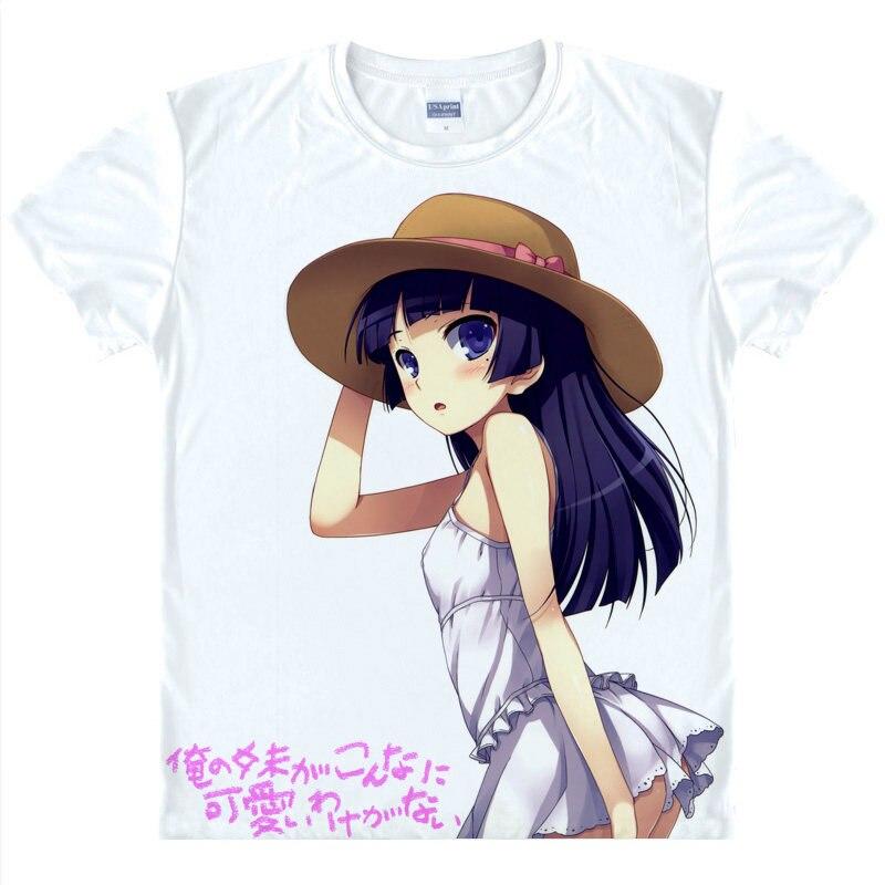 Oreimo футболка Kirino рубашка человек футболки с короткими рукавами аниме принтеров рубашка Симпатичная Рубашки для мальчиков молодежи Футболк...