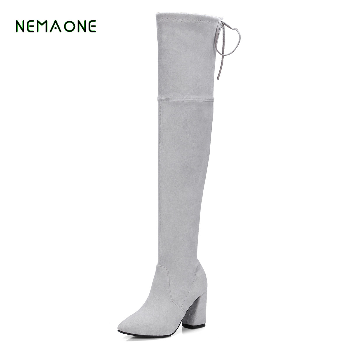 NEMAONE NEW Square Toe Shoes Woman Micro Suede Thigh High Boots for Women Heel Comfy Slouch Stretch Over the Knee Boots Black