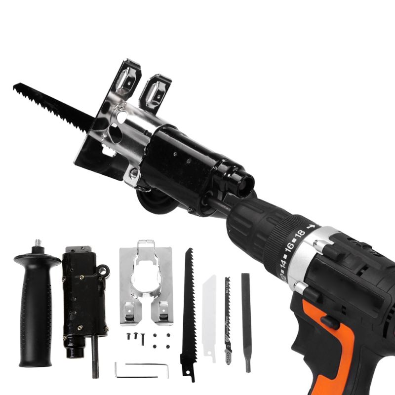 Reciprocating Electric Drill Attachment With Saw Blade Set Wood Metal Cutting Woodworking Tool Kit Accessories