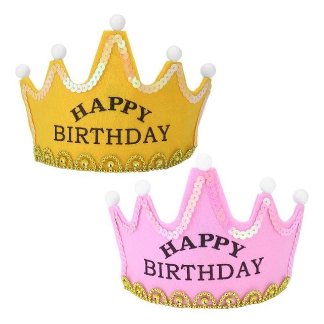 Boy Girl Yellow Pink First Birthday Hat Lovely King Princess Children Kids Light Up Luminous LED Crown Cap