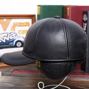 Image 3 - SILOQIN الشتاء الدافئة الرجال قبعات جلد طبيعي جلد البقر الطبيعي البيسبول قبعات جديد قابل للتعديل حجم الماركات منتصف العمر اللسان قبعة