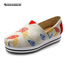 2016 Women Spring/Summer Graffiti Platform Canvas Casual Shoes Womens Creepers Walking Shoes Woman Loafers zapatillas deportivas