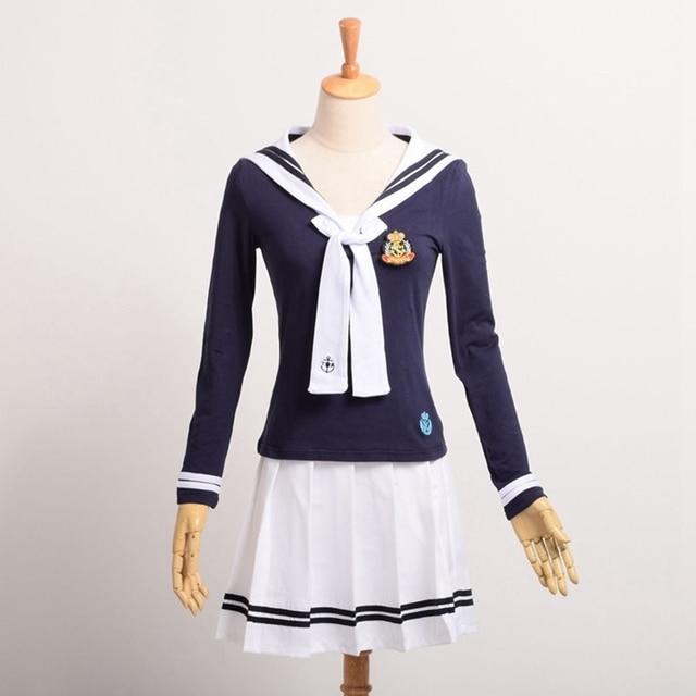 Girls Lolita Sailor Outfit Japanese Preppy JK Long Sleeve T shirt+Skirt Uniform with Badge