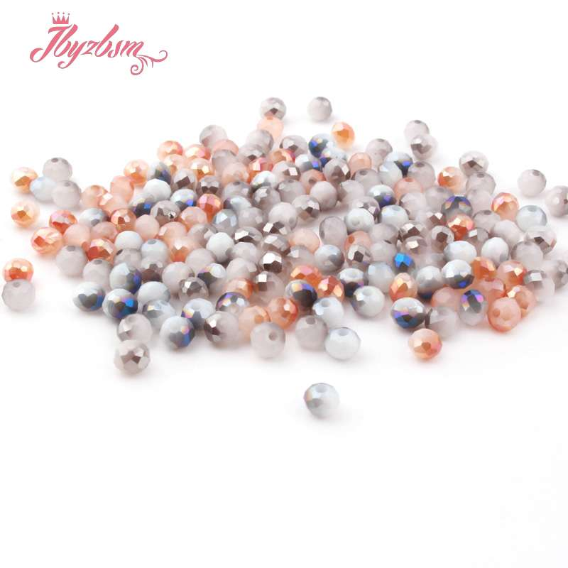 3*4mm 50pcs Rondelle Austria Crystal Glass Beads Faceted Round Beads Loose Spacer For Jewelry Making DIY Necklace Breaclet