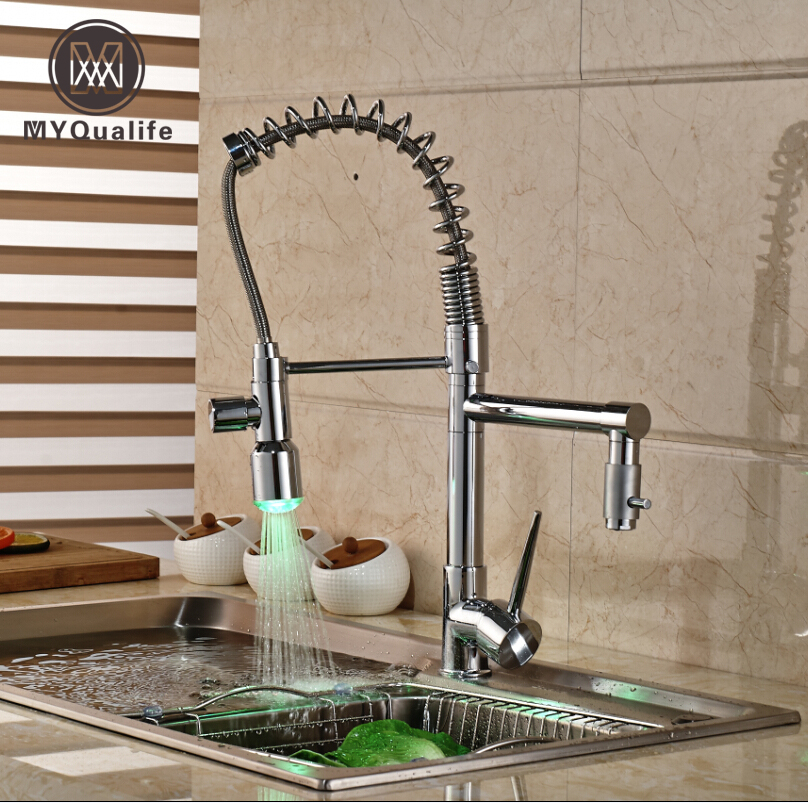 Single Handle LED Light Dual Spout Kitchen Mixer Faucet One Hole Hot and Cold Water Spring Pull Out Kitchen Water Taps micoe hot and cold water basin faucet mixer single handle single hole modern style chrome tap square multi function m hc203