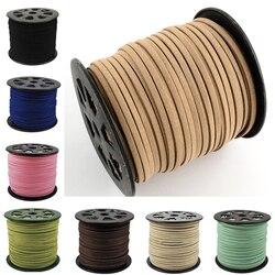 100 ياردة/لفة حبل من جلد الغزال الصناعي إكسسوارات ذاتية الصنع لصنع الأساور والمجوهرات 5 مللي متر × 1.5 مللي متر 16 لون للاختيار