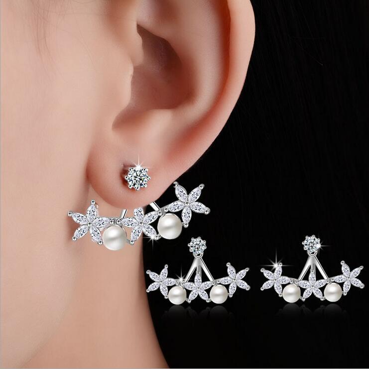 Nový příchod vysoce kvalitní módní perleťový květ 925 šterlinků stříbrné dámské náušnice šperky velkoobchodní dárek