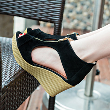 2019 Leather Wedge Heels Sandals Women Sandals Platform