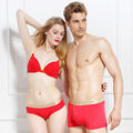 Amantes bragas modales rojo sexy escritos femeninos masculinos más tamaño mediados de cintura de la ropa interior caja de regalo conjunto