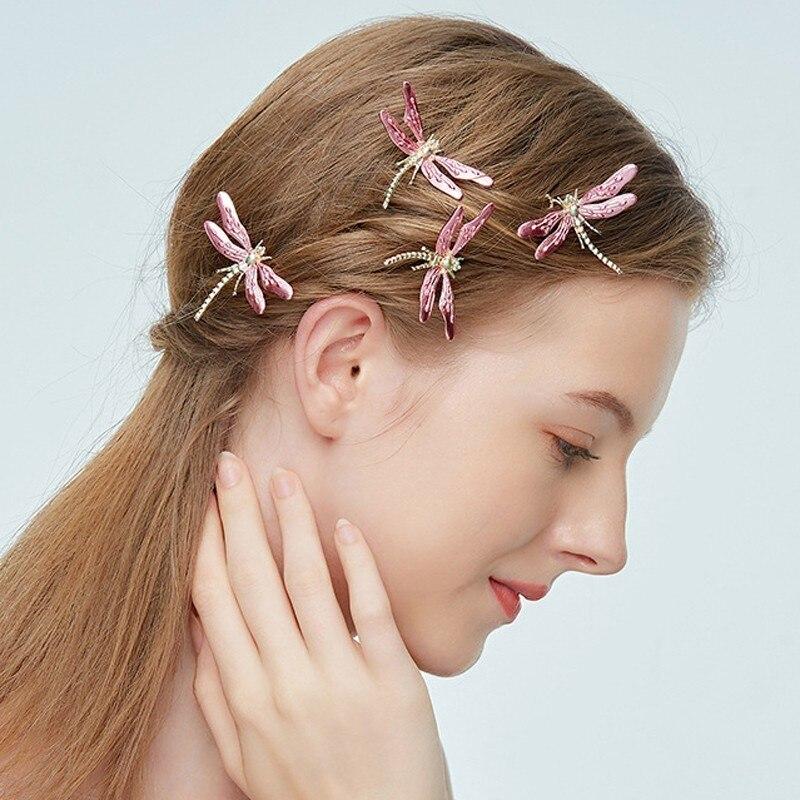 Hair-Accessories Clip-Sticks Jewelry Dragonfly Bridesmaid-Head Bridal Women Fashion Pink