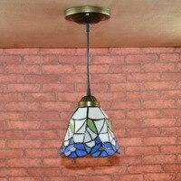 Vintage E27 LED Aisle Light Retro Stained Glass Retro Loft Pendant Lamp Metal Hanging Lights For Dining Room Bedroom Hallway