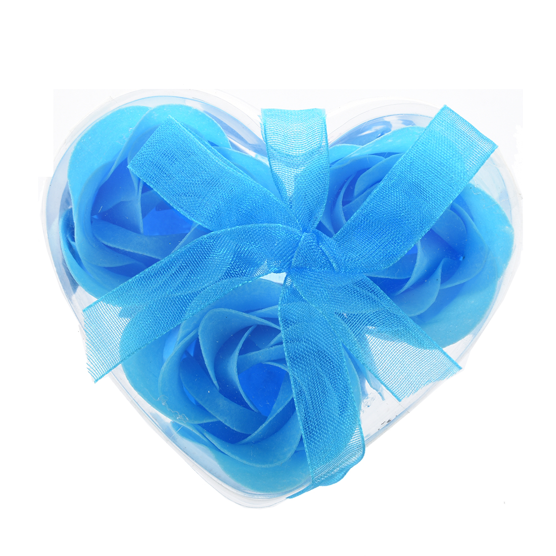 3Pcs Rose Shape Baby Blue Bath Soap Heart Package Box