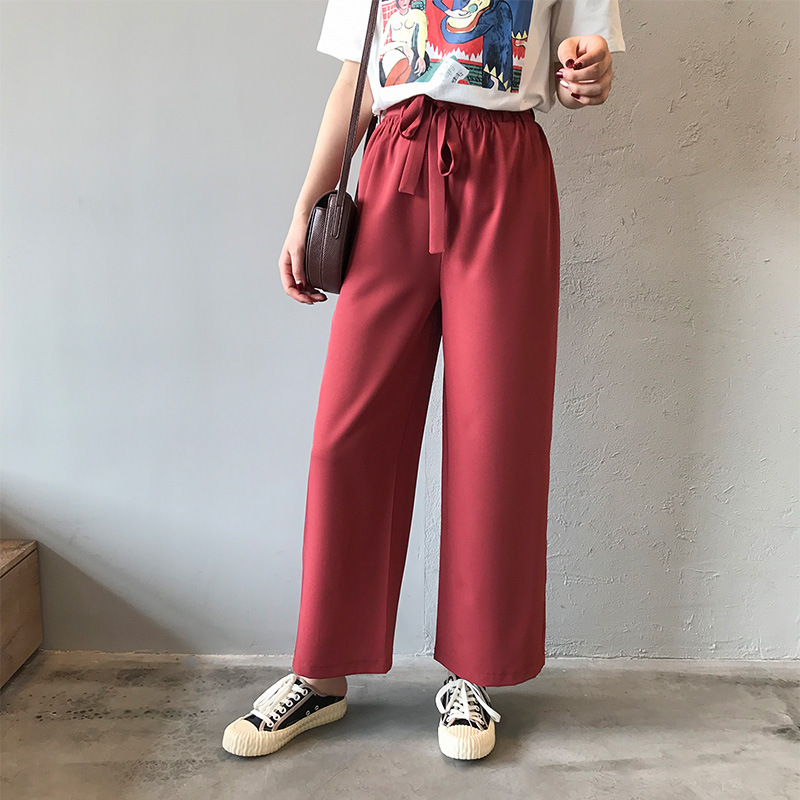 2019 Spring Women   Wide     Leg     Pants   Elastic Waist Loose Casual Trousers Female Solid Straight Trousers