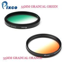 Pixco 55mm Gradual Orange or Green Lens Filter Camera Accessory