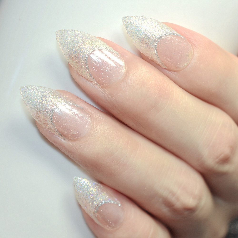 Pointed Fake Nail Tips Clear Full Cover Long False Nails Glitter ...