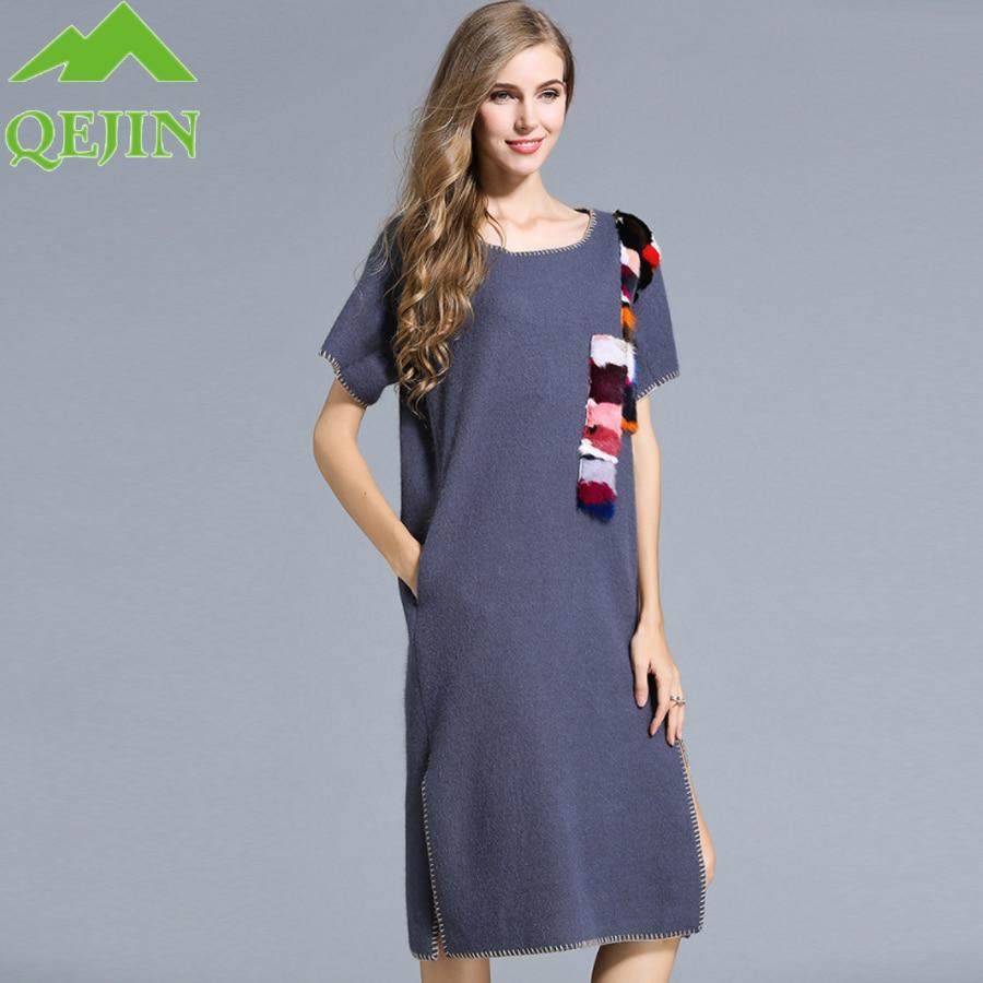 téli gyapjú ruha női juh gyapjú laza ruha Vastag meleg Közép - Női ruházat