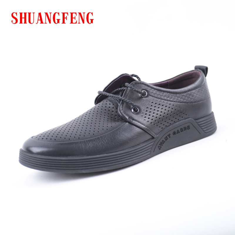 SHUANGFENG Hot Sale Men Shoes 2018 Summer Breathable Genuine Leather Men Driving Shoes Flats Casual Shoes Man Sapatos Masculinos caltus casual shoes men breathable new fashion oxfords men flats genuine leather spring autumn breathable driving shoes aa20518