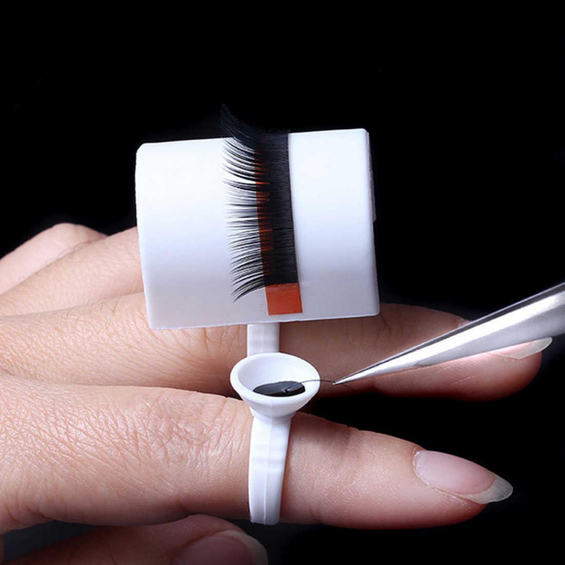 Klej oddzielne Lash makijaż narzędzia 1 PC indywidualne do rzęs w kształcie litery U przedłużanie rzęs klej palec pierścień paleta uchwyt pierścieniowy