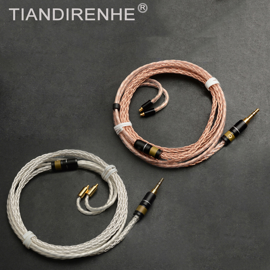 For Shure SE535 SE315 SE215 SE846 UE900 MMCX High Quality 8-core Single Crystal Copper Silver Cable Earphone Upgrade Cable Wire 800 wires soft silver occ alloy teflo aft earphone cable for ultimate ears ue tf10 sf3 sf5 5eb 5pro triplefi 15vm ln005407