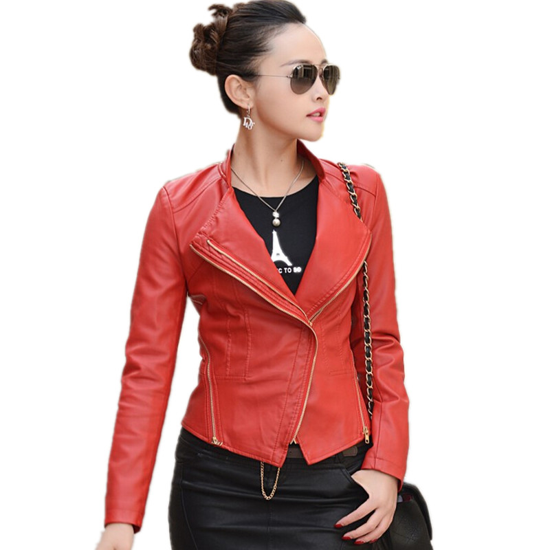 Small short   leather   jacket women clothing new spring and autumn   leather   coat Motorcycle   leather   jackets