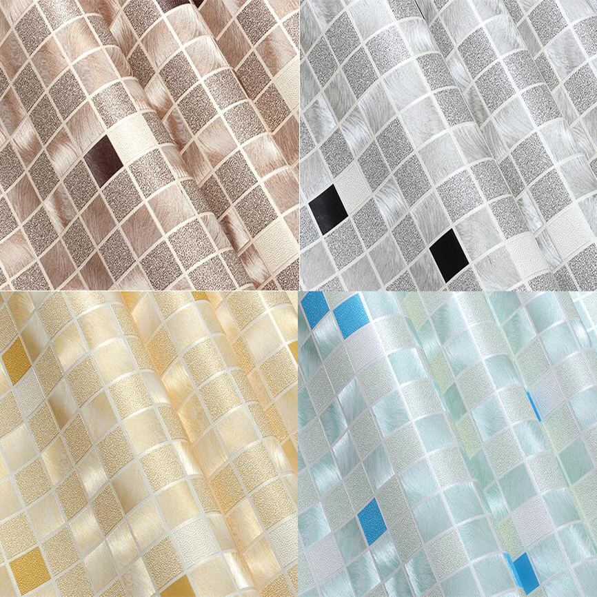 PVC Modern Black and White Metallic Luster Mosaic  Wallpaper Roll Kitchen waterproof
