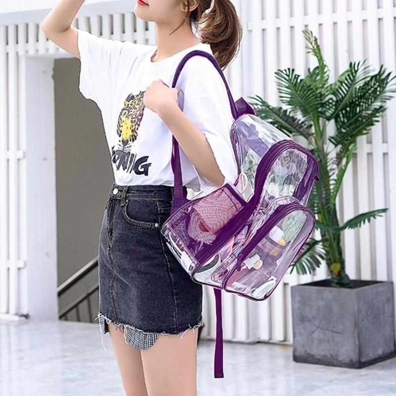 Waterproof PVC Transparent Women Backpack Home Organizer Large Storage Bags Teenager Girls Zipper Student School Bag Travel Bag