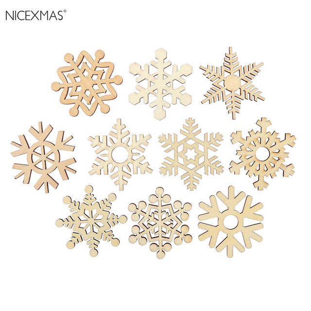 10pcs Assorted Wooden Snowflake Cutouts Craft Embellishment Snowflake Christmas  Decorations For Home Merry Christmas Ornament - 10pcs Assorted Wooden Snowflake Cutouts Craft Embellishment