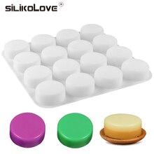 SILIKELOVE 16 kaviteler yuvarlak sabun kalıp silikon sabun kalıp büyük el yapımı sabun kalıpları