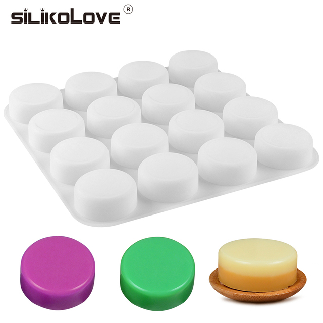 SILIKELOVE Molde de jabón redondo de 16 cavidades, molde para hacer pastillas de jabón de silicona, grandes moldes de jabón hechos a mano