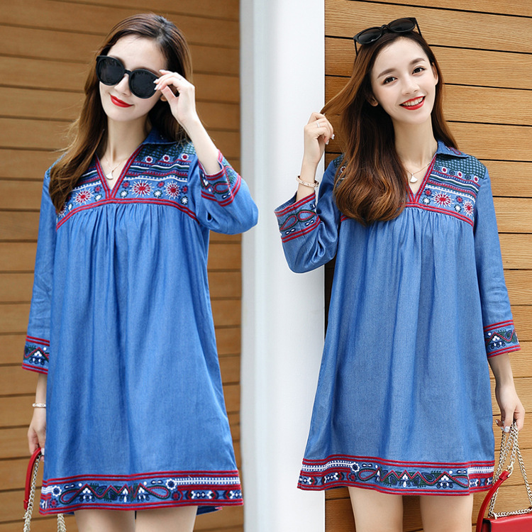 Spring and autumn large size womens clothing Pregnant woman embroidery loose denim dress