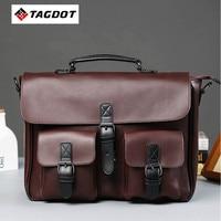 High Quality Men Bag Crazy Horse PU Leather Men S Handbags Casual Business Laptop Shoulder Bags